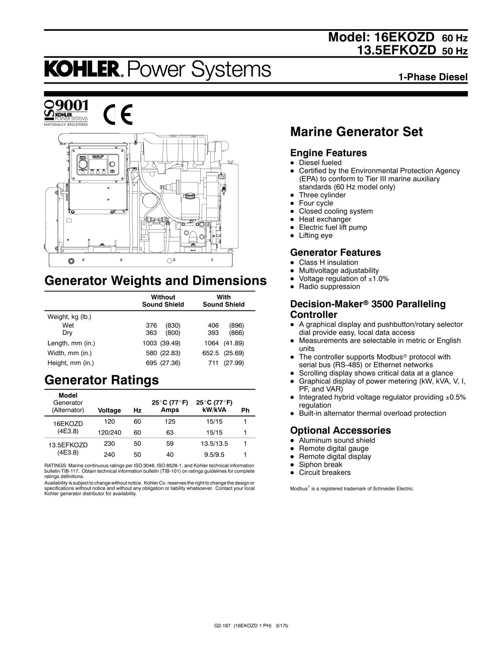 13.5EFKOZD - KOHLER POWER SYSTEMS - PDF Catalogue | Technical ...