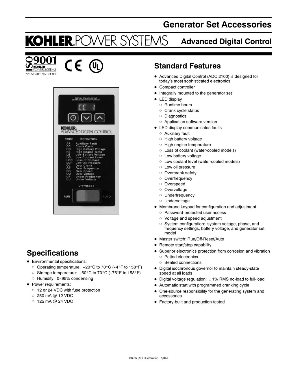 Kohler Decision Maker Manual 2007 Polaris Sportsman 500 Adc Wiring Diagram Page 79 92 Array Advanced Digital Control Power Systems Pdf Catalogue Rh Directindustry Com