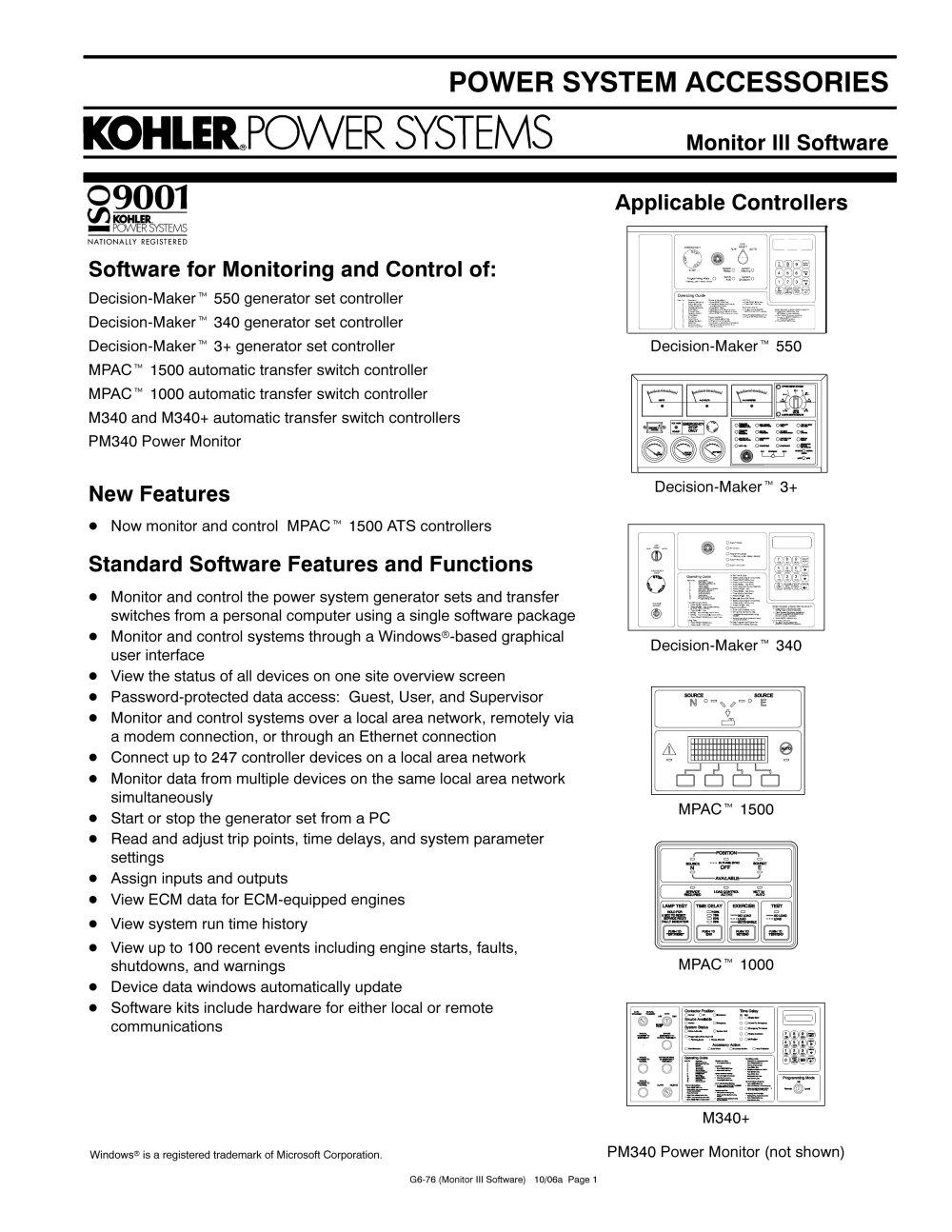 Generator Controls / Advanced Digital Control - KOHLER POWER SYSTEMS ...