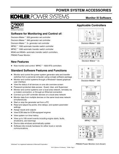 Generator Controls / Advanced Digital Control - KOHLER POWER SYSTEMS