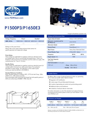 P1500P3-P1650E3 (1500-1650 kVA) Open Generator Set
