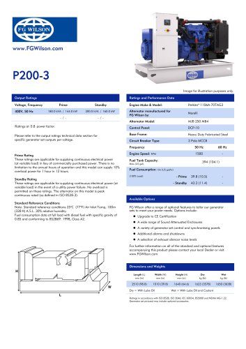 p200 3 200 kva open generator set fg wilson pdf catalogue p200 3 200 kva open generator set