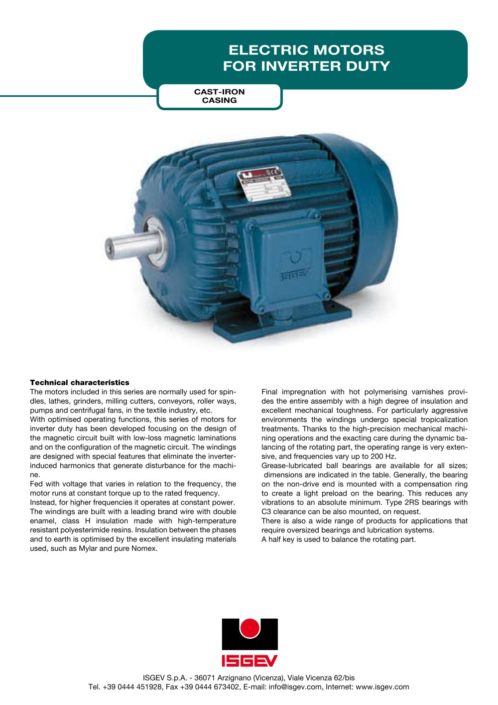 Electric motors for inverter duty - ISGEV - PDF Catalogue ...