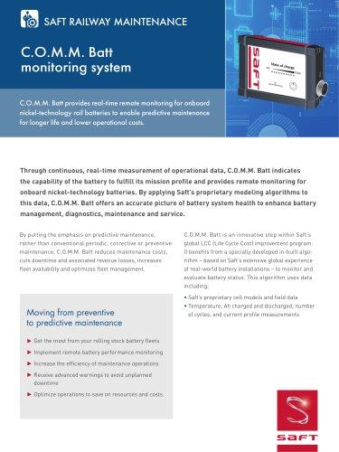 C O M M  Batt, the monitoring system - SAFT - PDF Catalogs