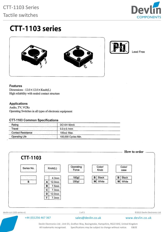 Tactile switches CTT-1103 Series - Devlin - PDF Catalogue ...