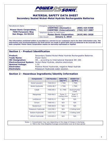 Material Safety Data Sheet NiMH Batteries (MSDS) - Power-Sonic - PDF