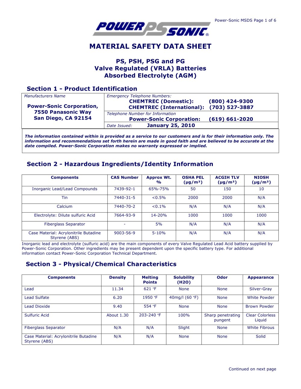 Material Safety Data Sheet Sealed Lead Acid Batteries (MSDS