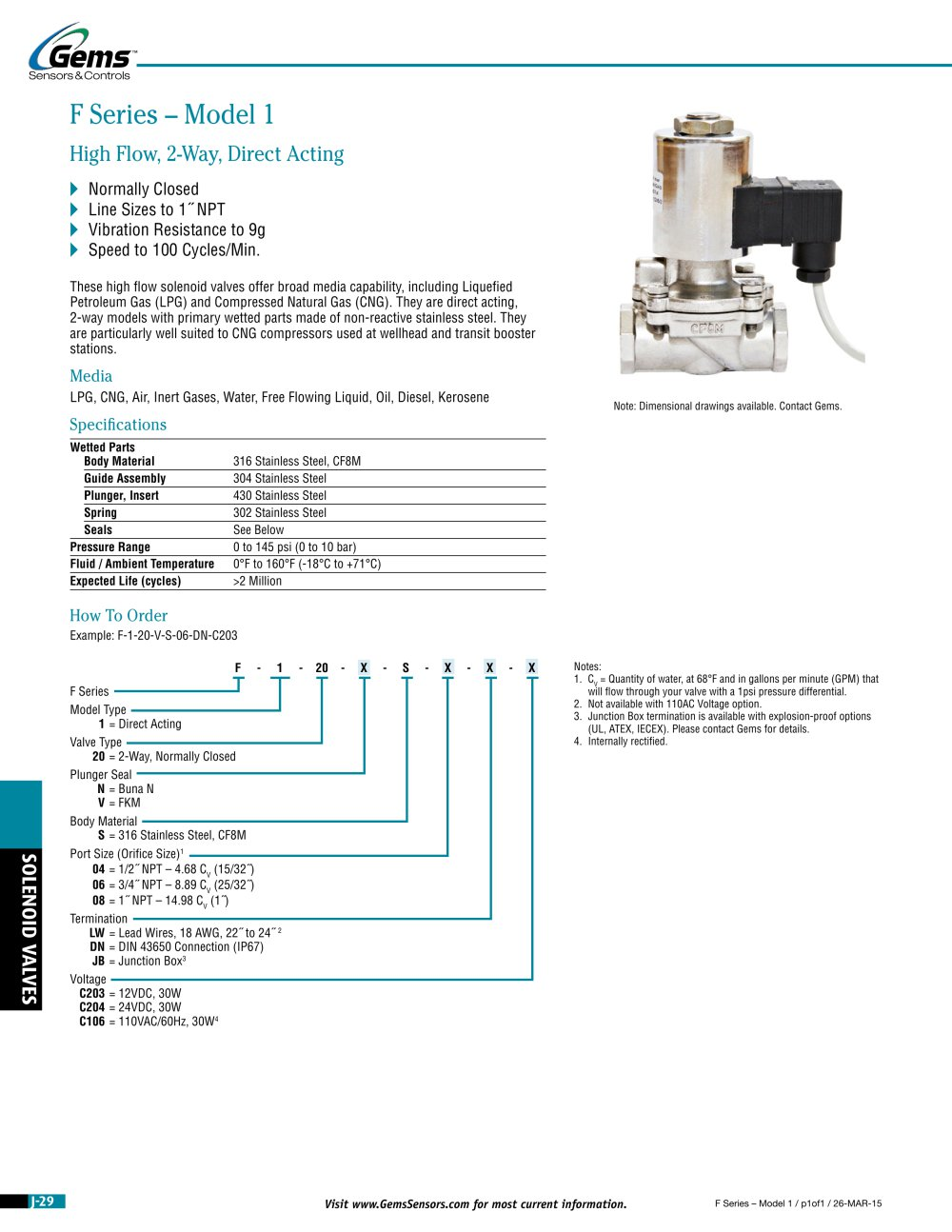 F Series | High Flow, High Pressure Direct Operating Solenoid Valve - 1 / 4  Pages