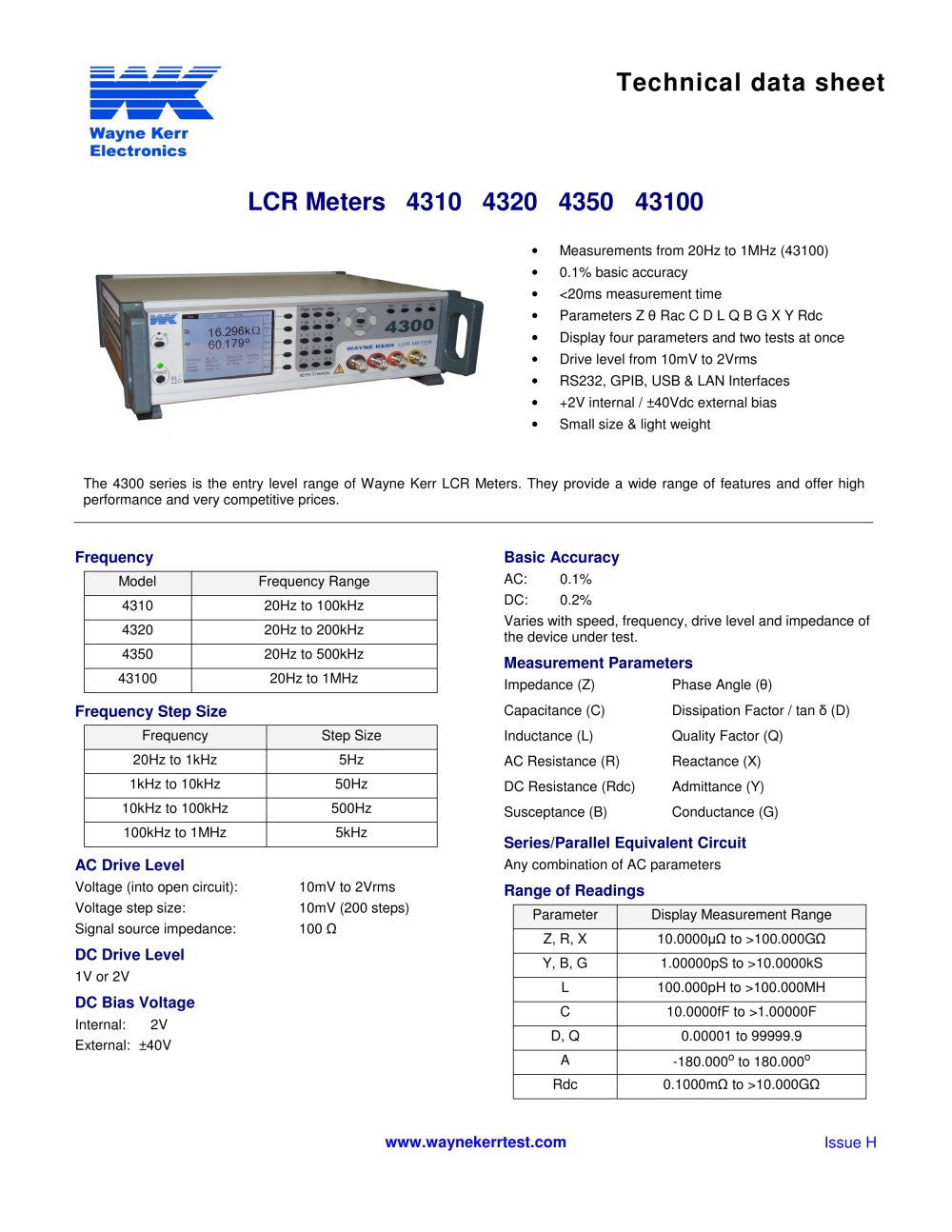 4300 Series Lcr Meters Waynekerrtest Pdf Catalogs Technical Inductance And Resistance In A Dc Circuit 1 2 Pages