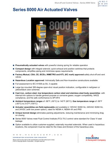 8000 Series Gas Valves with Partial Stroke Testing