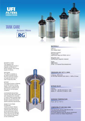 RG - TANK CARE - return filters - UFI HYDRAULIC - PDF Catalogs
