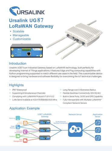 UG87 LoRaWAN Gateway - Ursalink Technology Co , Ltd  - PDF Catalogs