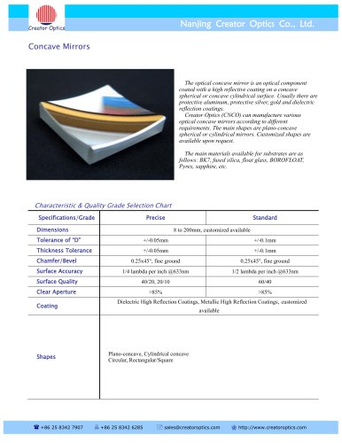 CreatorOptics custom optical concave mirrors, BK7, sapphire, fused silica