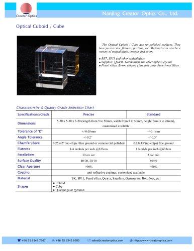 CreatorOptics Optica Cuboid, BK7, UV Fused Silica, Sapphire