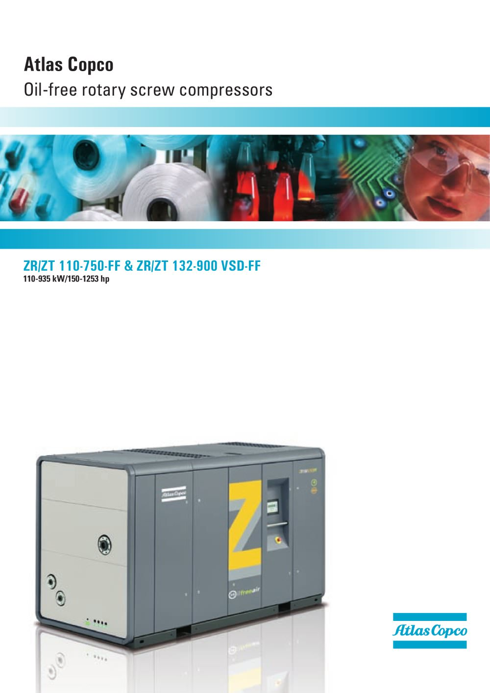 Atlas Copco Oil-free rotary screw compressors 110-935 kW/150-1253 hp - 1 /  24 Pages