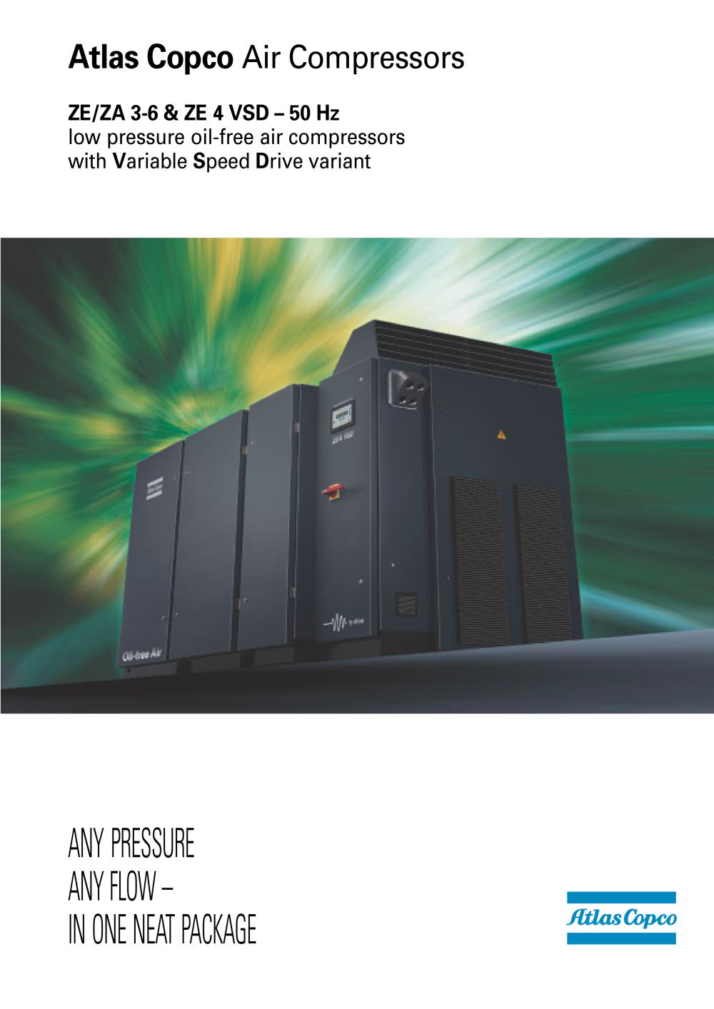 ZE/ZA 3-6 & ZE 4 VSD – 50 Hz low pressure oil-free air compressors with  Variable Speed Drive variant - 1 / 16 Pages