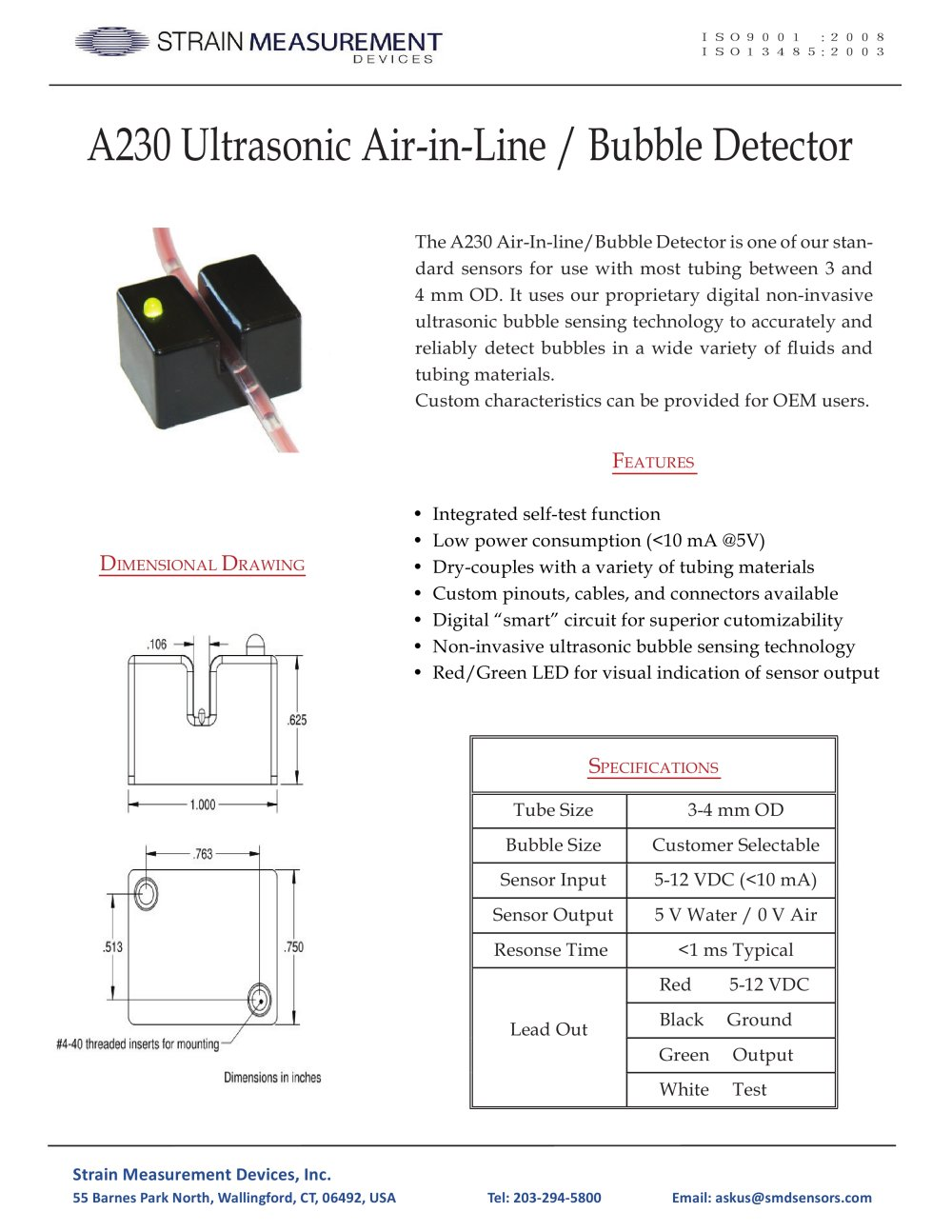 A230 Bubble Detector Air In Line Sensor Strain Measurement Circuit 1 Pages