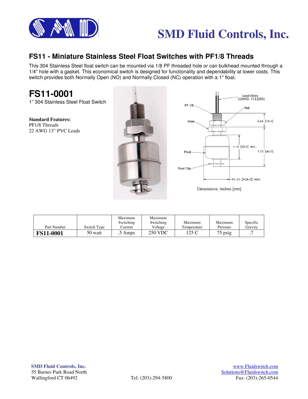 FS11 Miniature Stainless Steel Float Level Switches 1 1 Pages