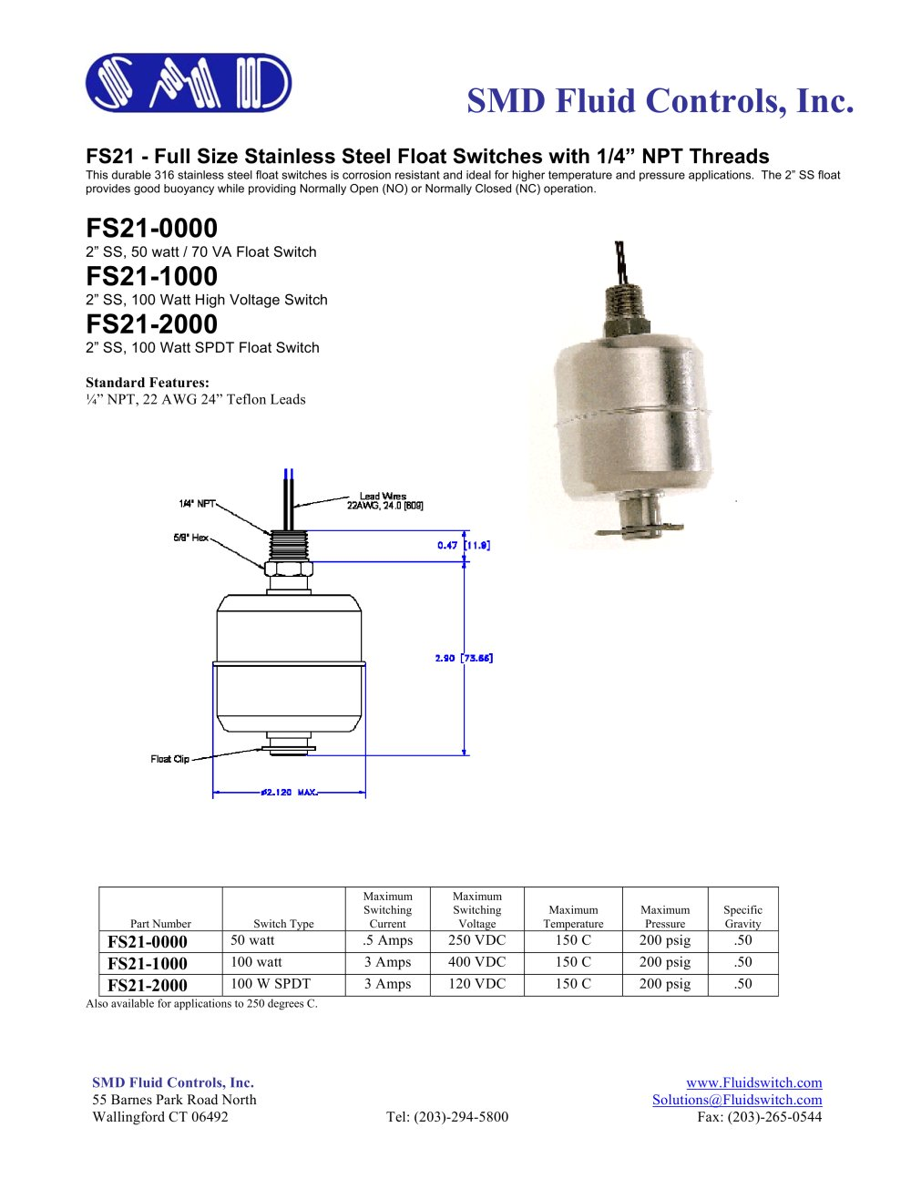 fs21 2 full size stainless steel float switch with 1 4 npt Normally Closed Contact Electrical  normally closed float switches normally closed float switch harrisburg pa normally closed vertical float switch