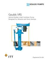 Goulds VRS Vertical Rubber-Lined Cantilever Pump Designed for Abrasive and Slurry Services