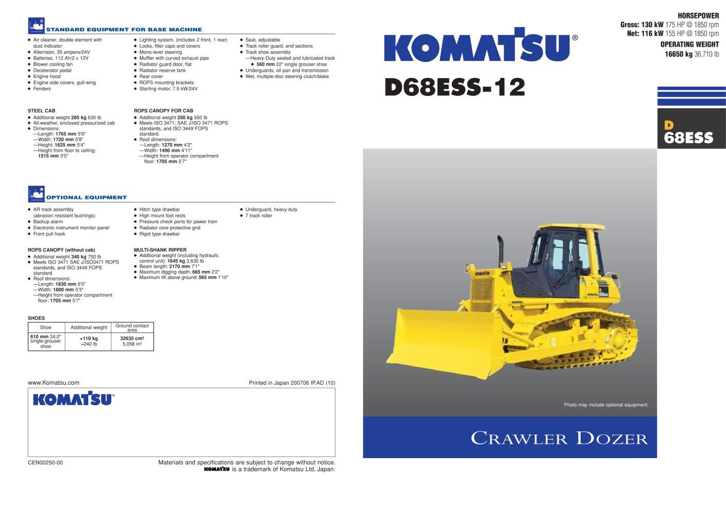D68ess 12 Komatsu Construction And Mining Equipment Pdf Bushing Ar Kw 1 4 Pages