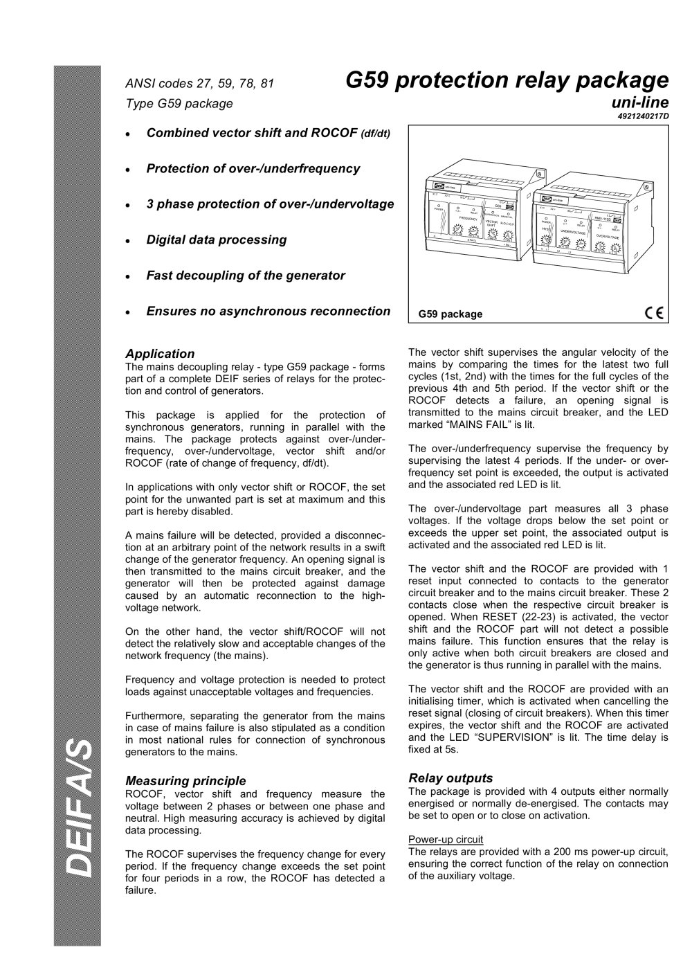 G Protection Relay Package DEIF PDF Catalogue Technical - Protection relays and circuit breakers