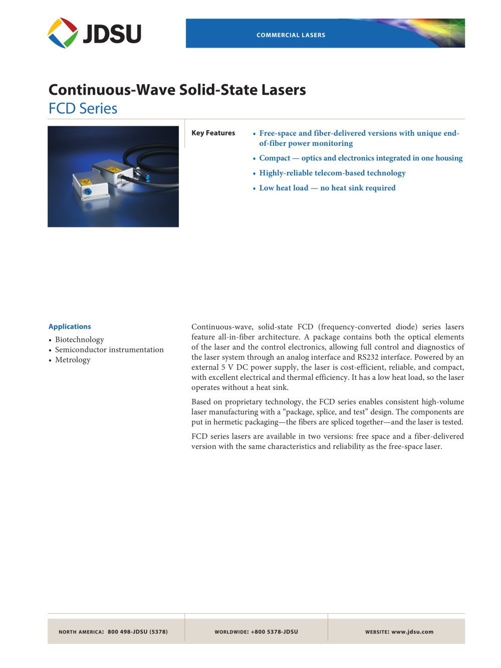 Continuous Wave Solid State Lasers Fcd Series Jdsu Pdf Rs232 Laser Transceiver 1 4 Pages