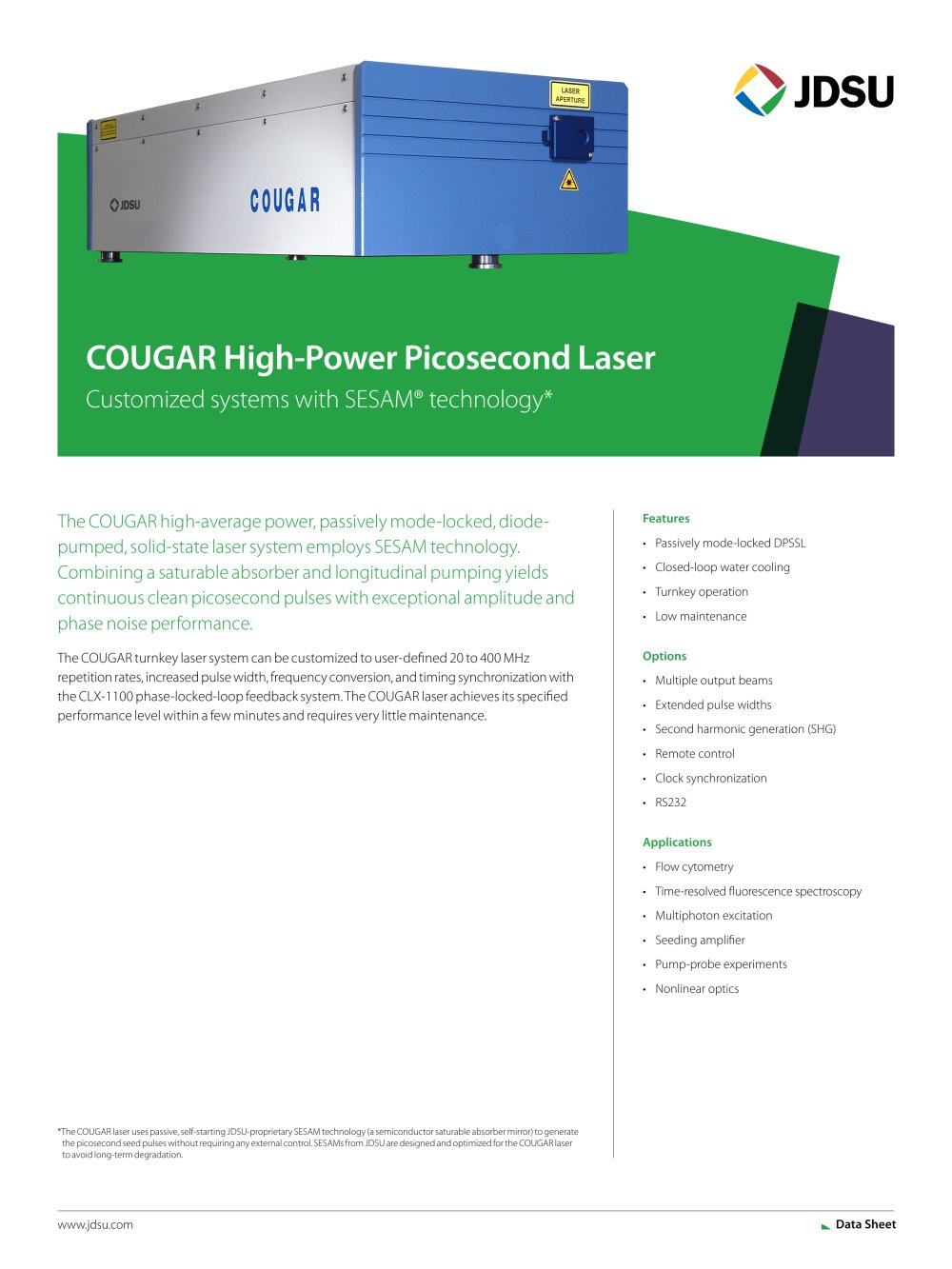 Cougar High Power Picosecond Laser Jdsu Pdf Catalogue Rs232 Transceiver 1 3 Pages