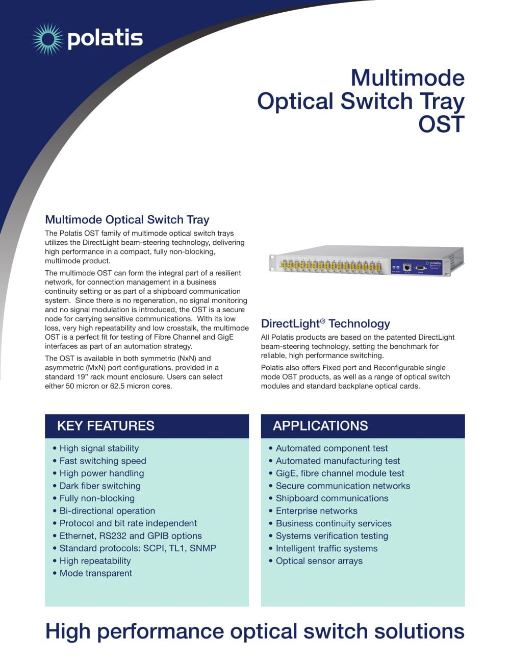 Optical Switch Tray Ost Multimode Jdsu Pdf Catalogs Option 2 Power To Switches 1 Pages