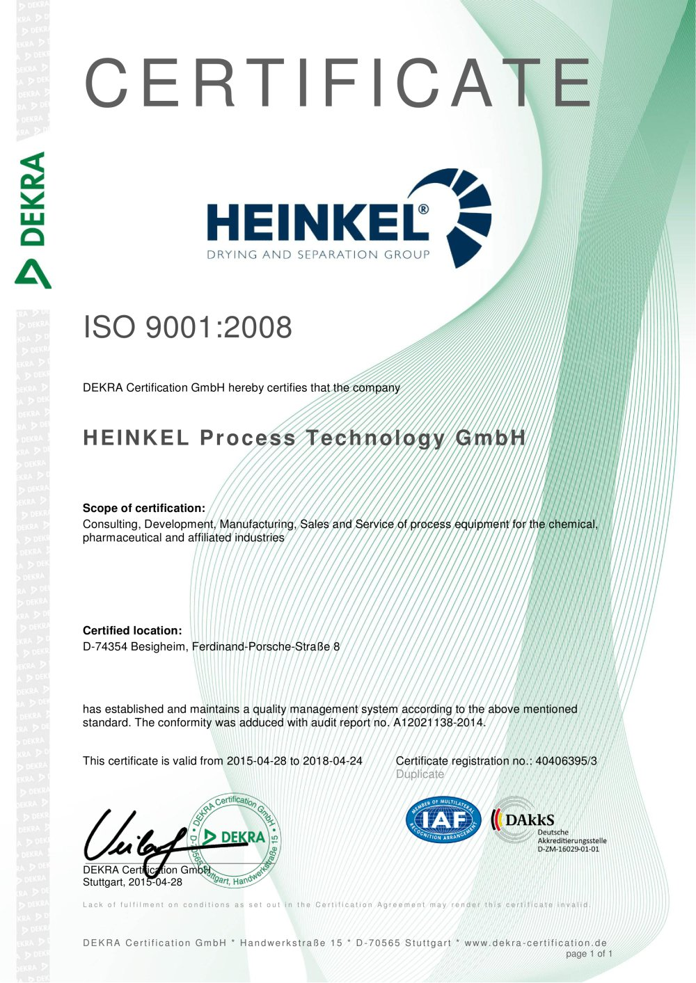 Iso 9001 certificate heinkel drying and separation group pdf iso 9001 certificate 1 1 pages 1betcityfo Gallery