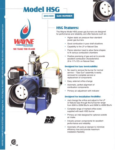 HSG200 and HSG400 Gas Powered Burners