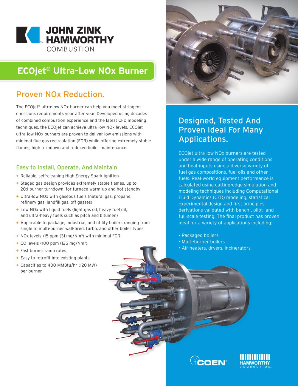 ECOjet Ultra-Low N0x Burner - Coen - PDF Catalogue | Technical ...