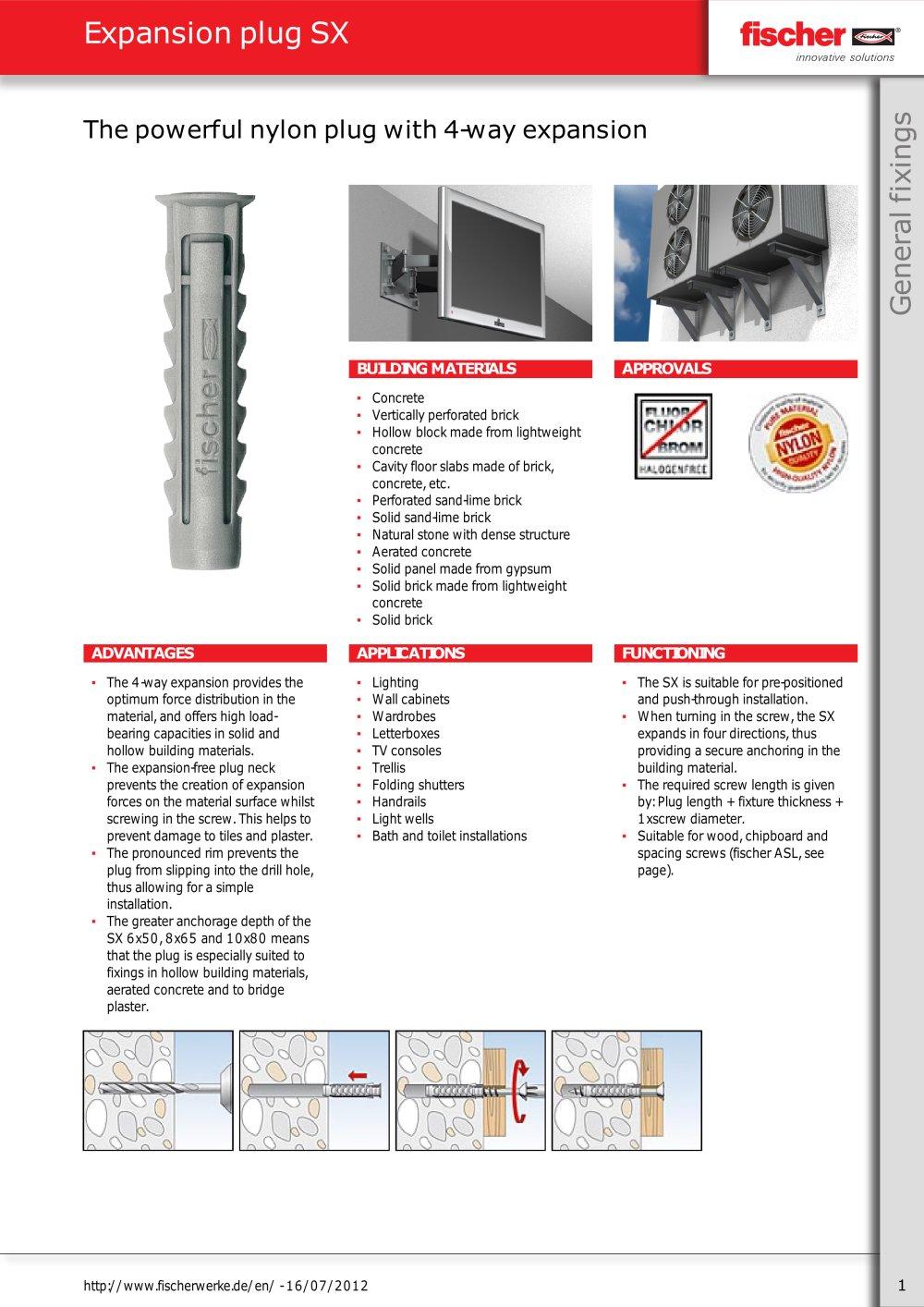 expansion plug sx artur fischer pdf catalogue technical