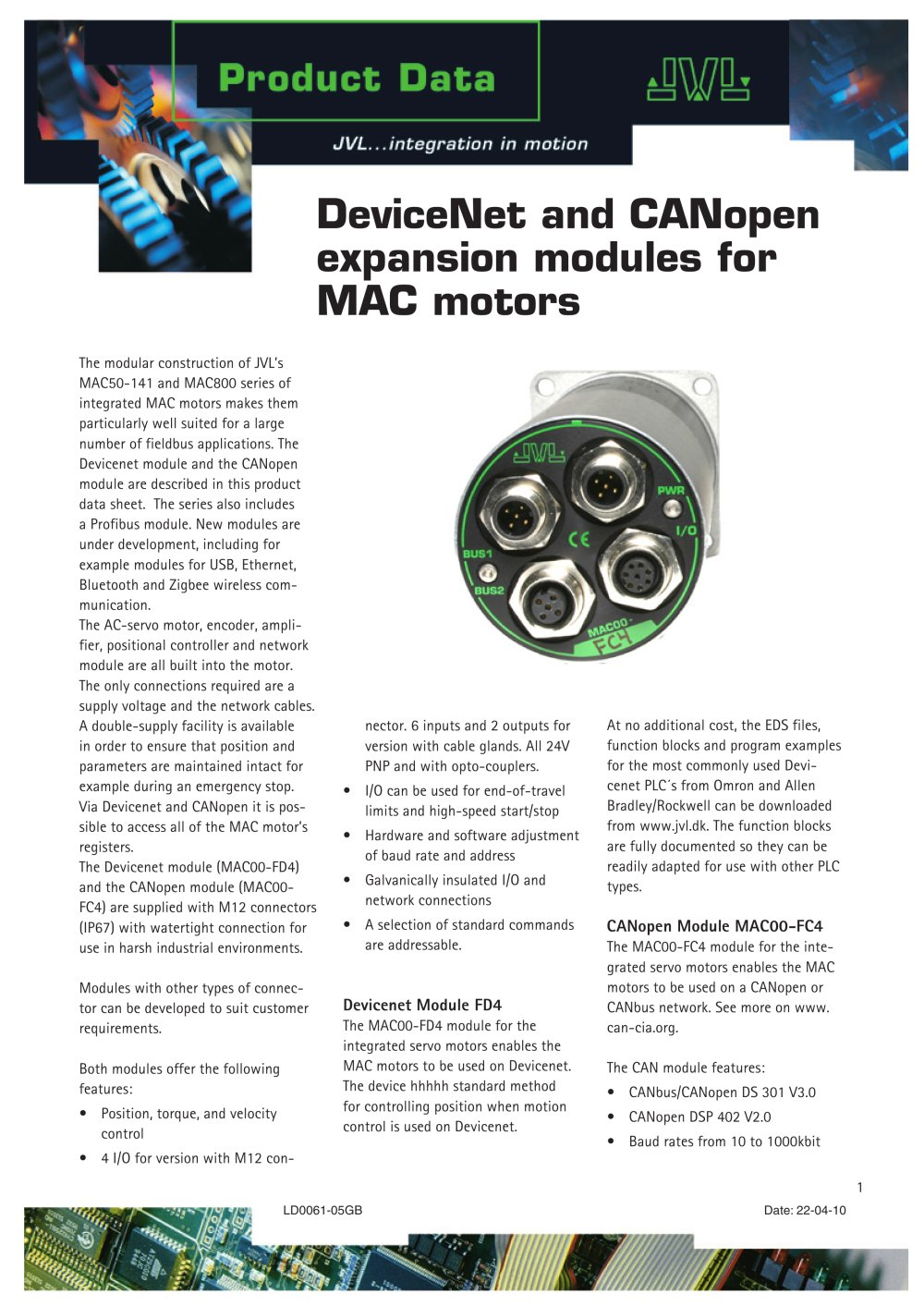 DeviceNet and CANopen expansion modules for MAC motors - JVL - PDF