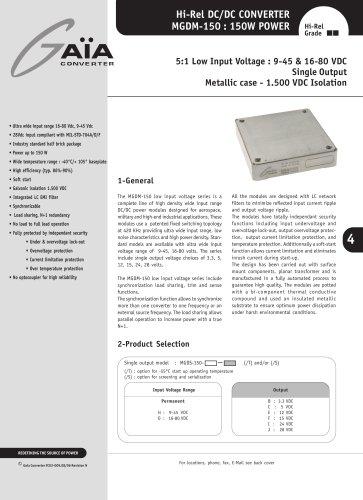 DC/DC Module Datasheet 150 Watts low input Series