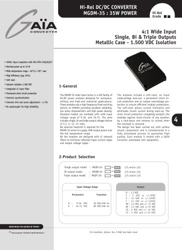 DC/DC Module Datasheet 35 Watts Series