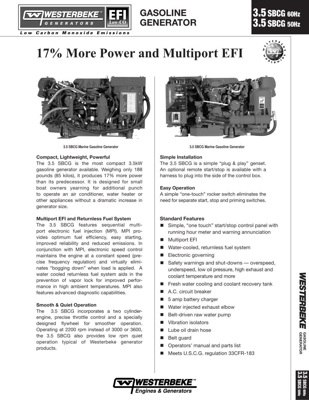 3.5 SBCG - 60 Hz low-CO - Westerbeke - PDF Catalogue | Technical ...