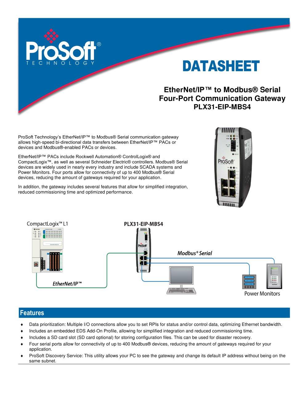 PLX31-EIP-MBS4 - PROSOFT - PDF Catalogue | Technical