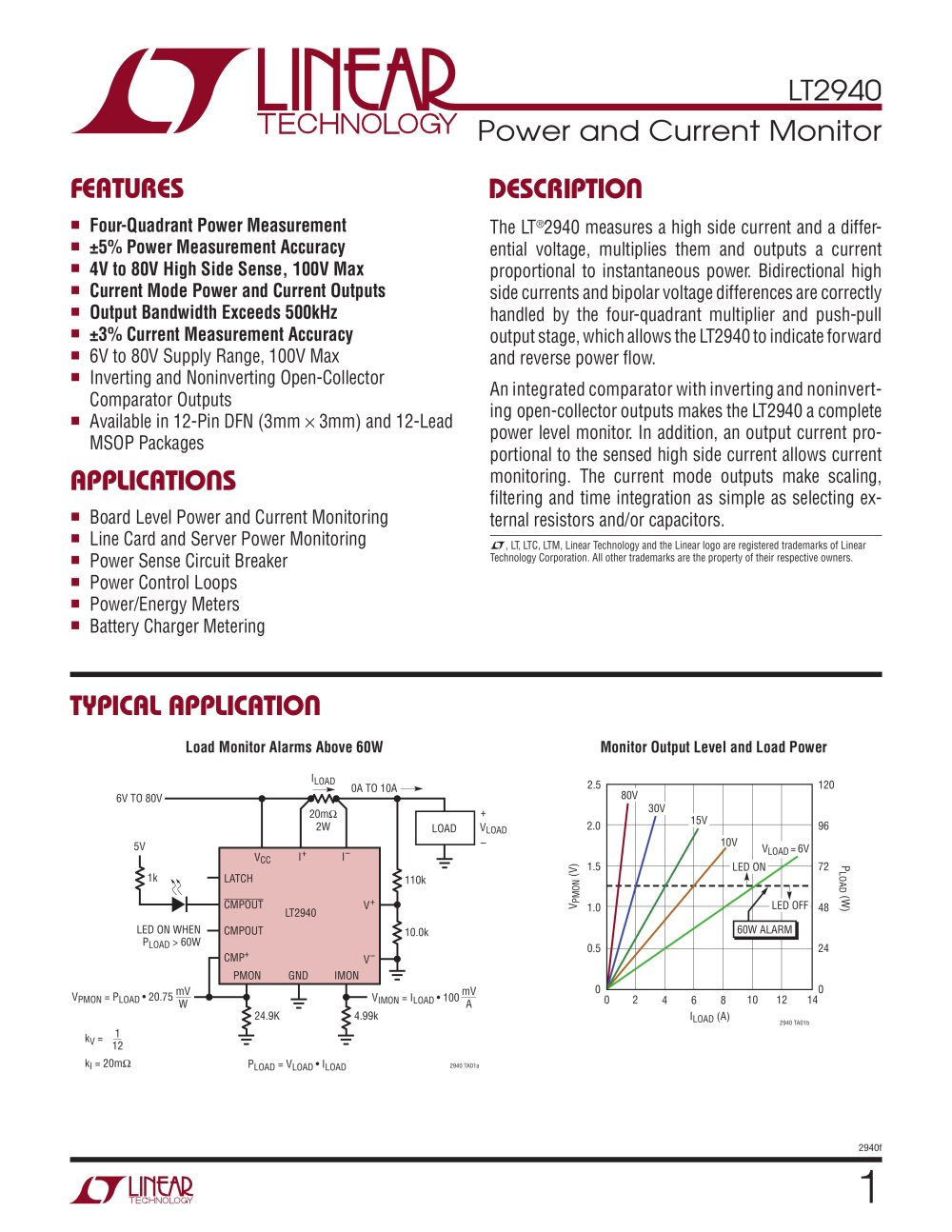 Lt2940 Power And Current Monitor Linear Technology Pdf Synchronous Buckboost Led Driver Controller 1 24 Pages