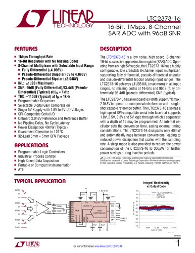 LTC2373-16 - 16-Bit, 1Msps, 8-Channel SAR ADC with 96dB SNR - Linear