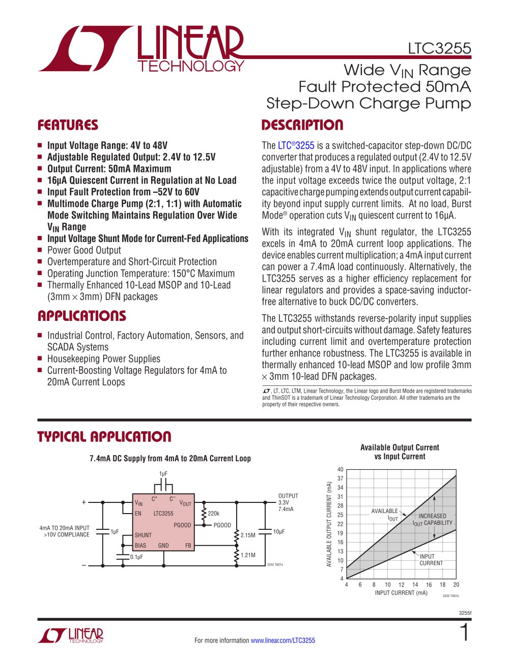 Ltc3255 Wide Vin Range Fault Protected 50ma Step Down Charge Pump Synchronous Buckboost Led Driver Controller Linear Technology 1 16 Pages