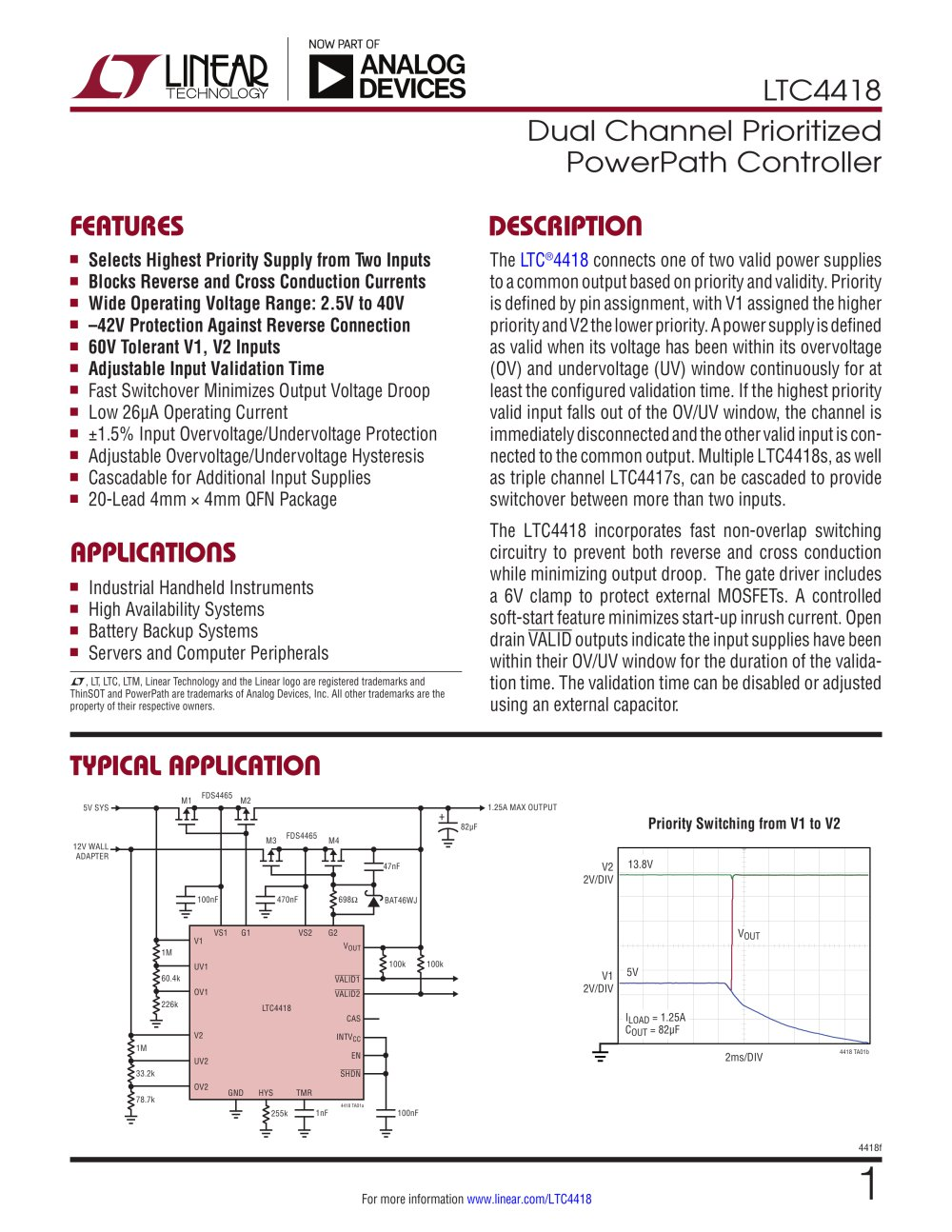 Ltc4418 Dual Channel Prioritized Powerpath Controller Linear Synchronous Buckboost Led Driver Technology 1 30 Pages