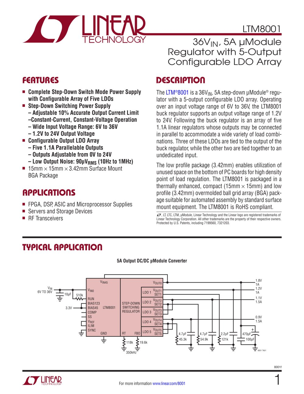 Ltm8001 36vin 5a Module Regulator With 5 Output Configurable Ldo Synchronous Buckboost Led Driver Controller Linear Technology Array 1 28 Pages