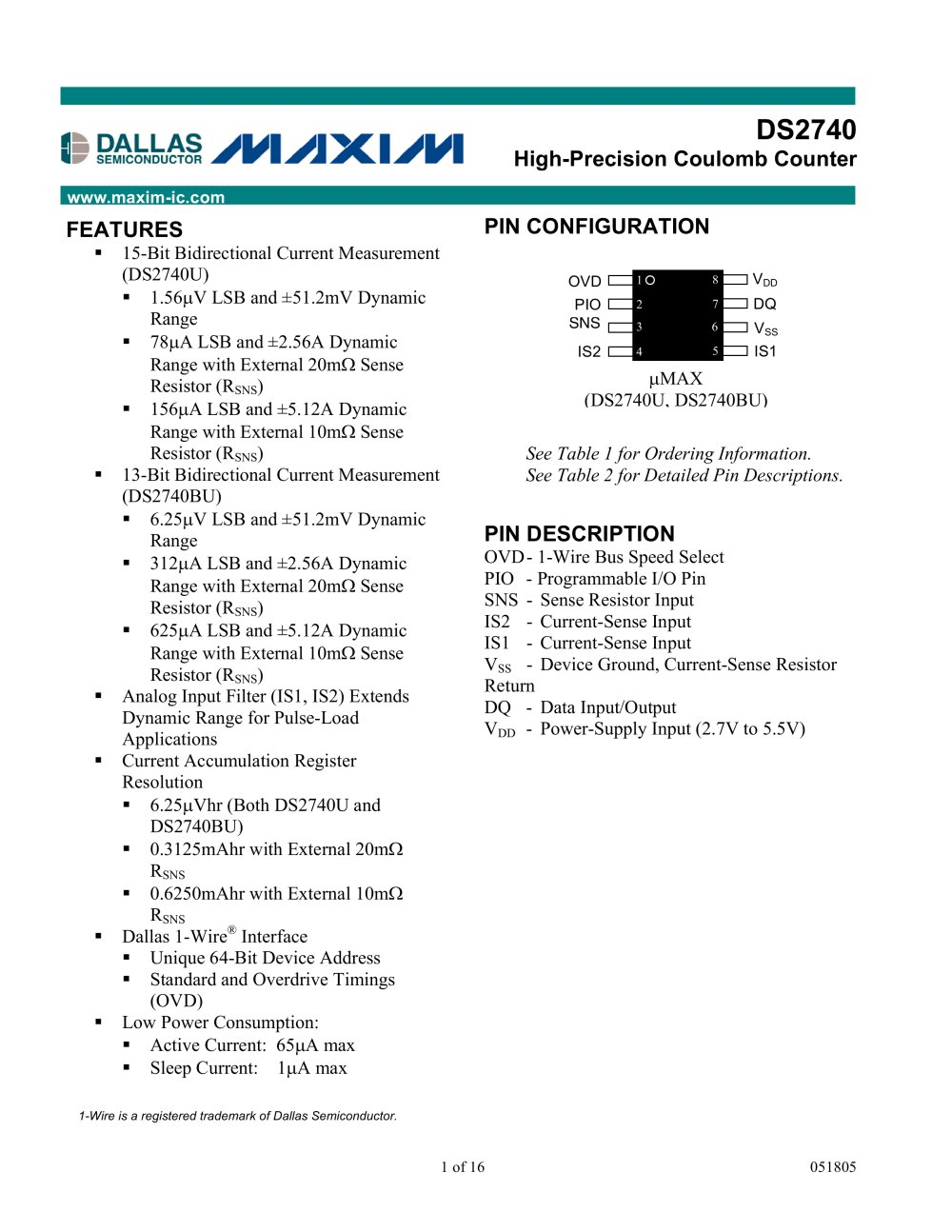 High-Precision Coulomb Counter - Maxim Integrated - PDF Catalogue ...