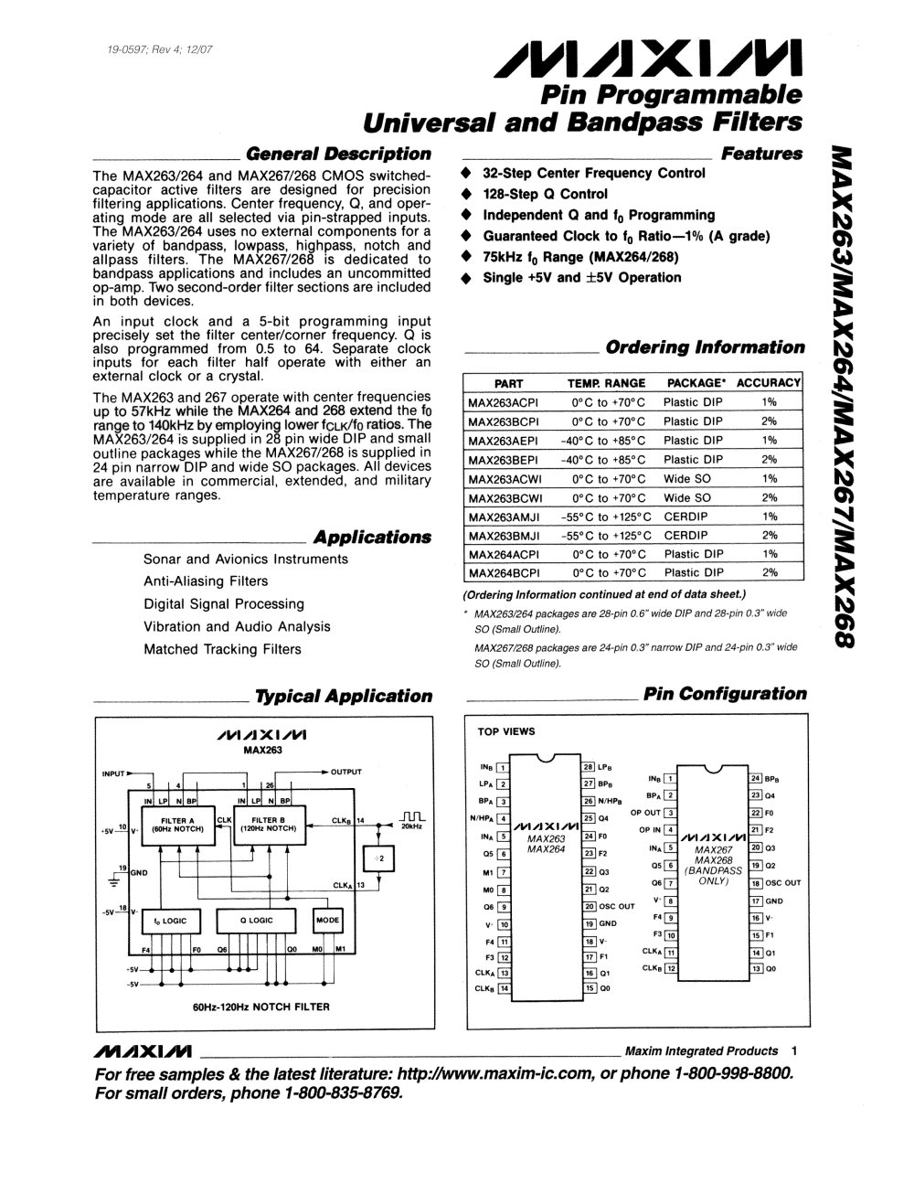 Max263 Max264 Max267 Max268 Pin Programmable Universal And Notch Filter Circuit Diagram Bandpass Filters 1 28 Pages