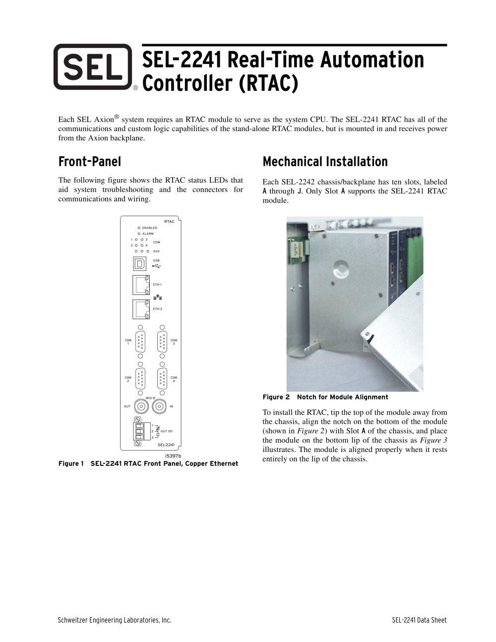 SEL-2241 Real-Time Automation Controller (RTAC) - 1 / 8 Pages