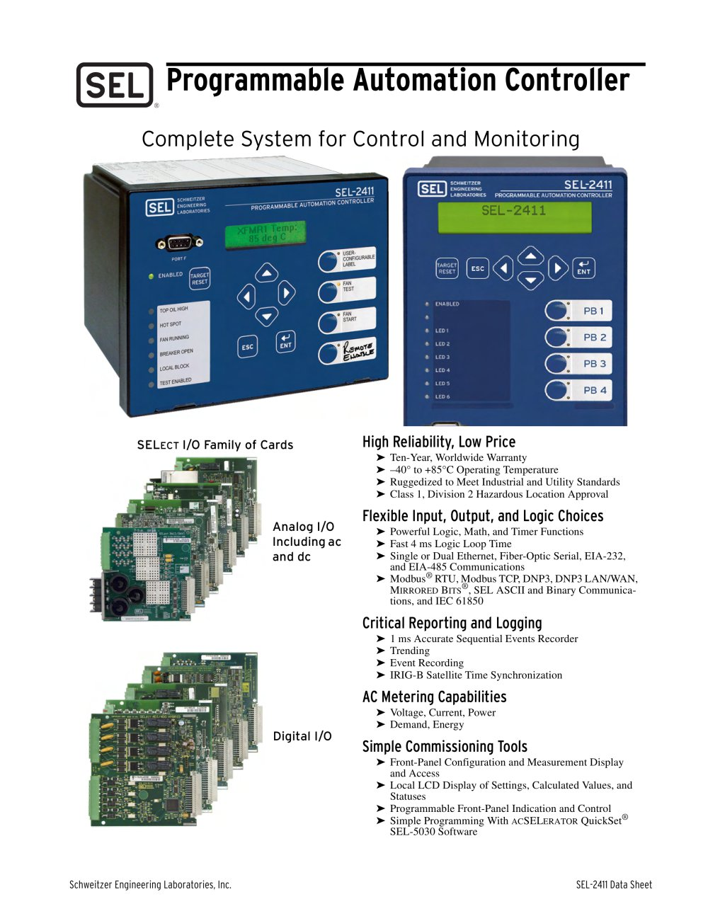 Sel 2411 programmable automation controller schweitzer engineering sel 2411 programmable automation controller 1 24 pages ccuart Gallery