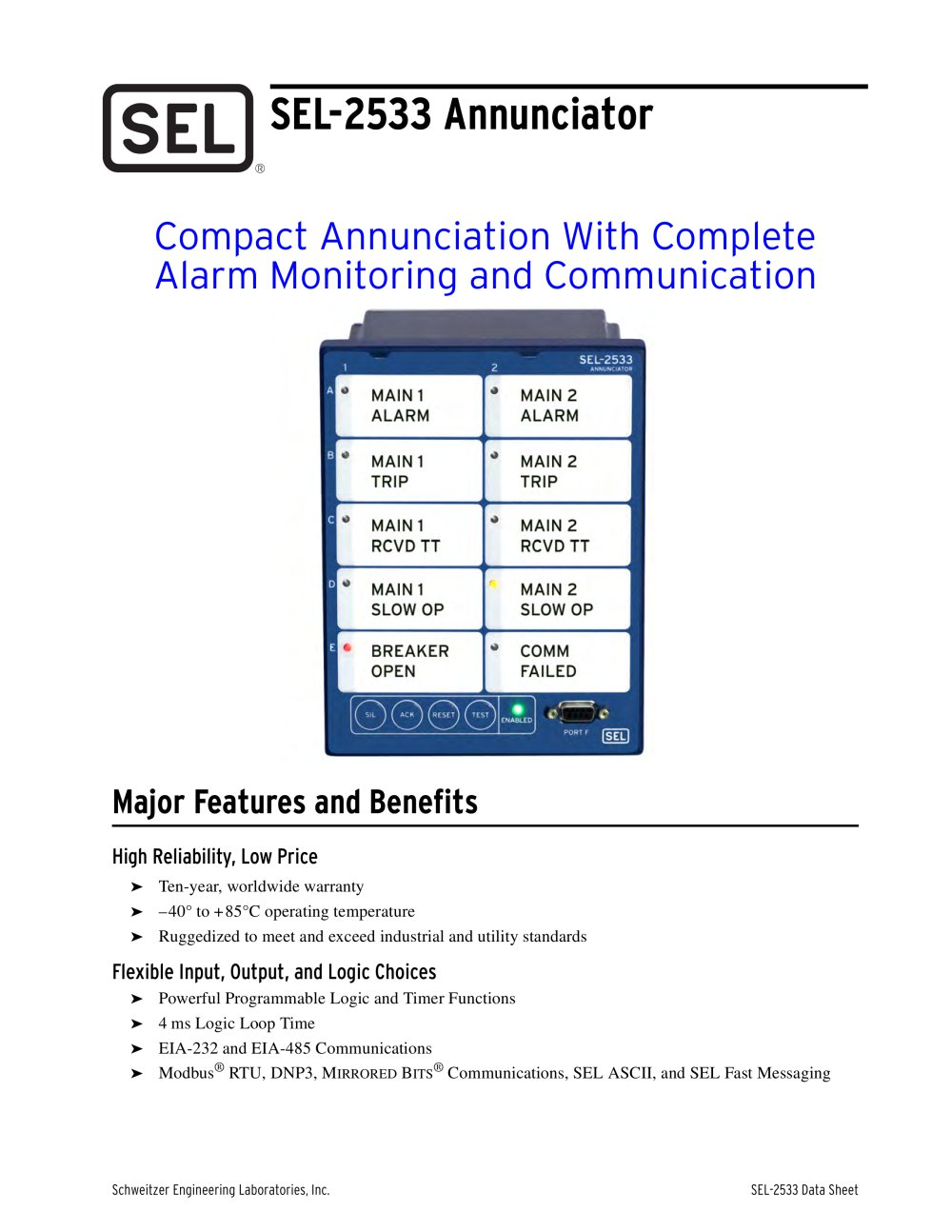 SEL-2533 Annunciator - 1 / 12 Pages