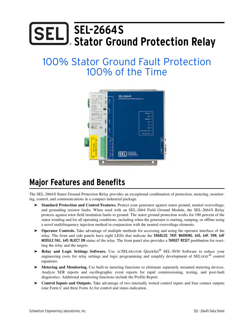SELS Stator Ground Protection Relay Schweitzer Engineering - Basic of relay pdf