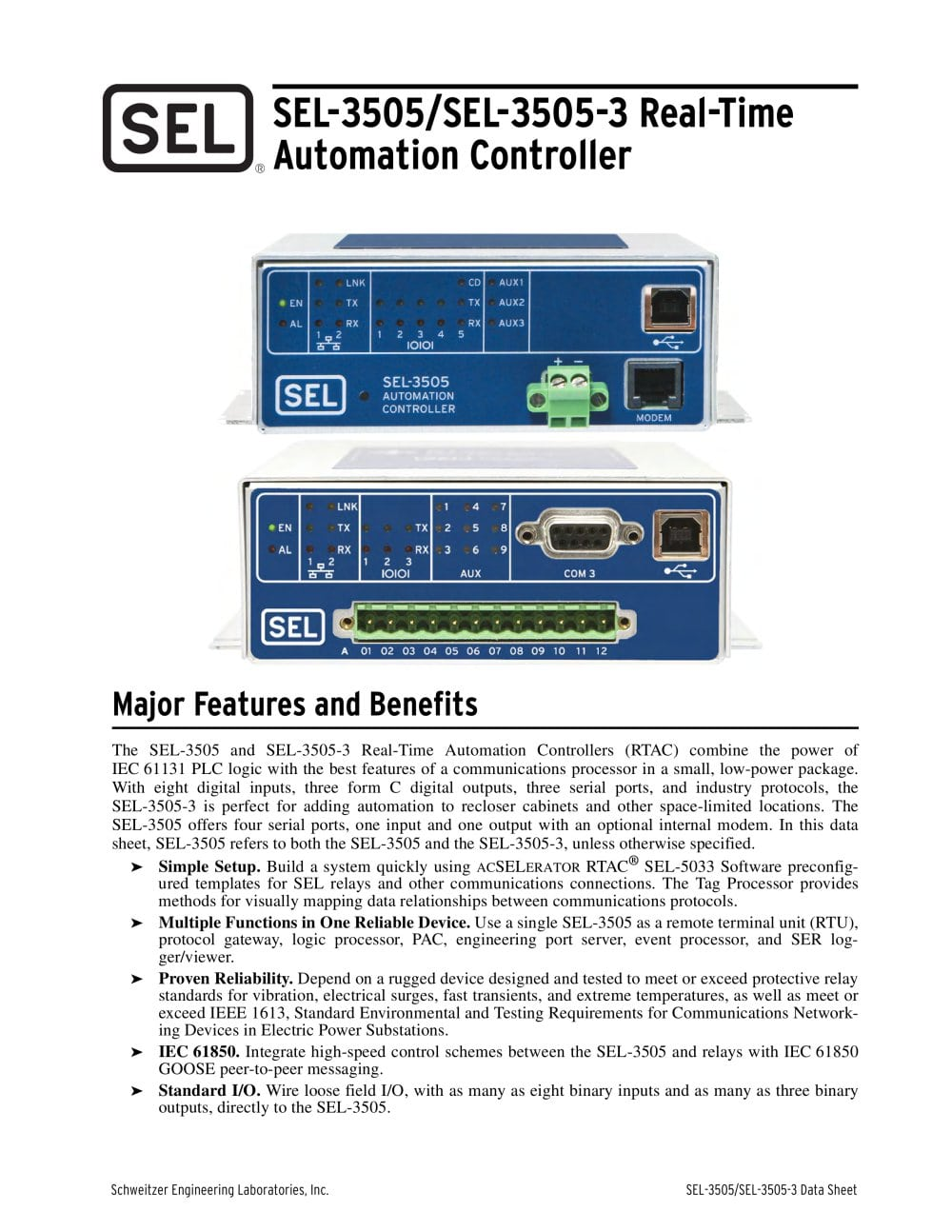 Sel 3505sel 3505 3 real time automation controller rtac sel 3505sel 3505 3 real time automation controller rtac 1 12 pages ccuart Image collections